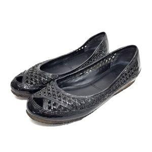 FRYE Black Woven Patent Leather Flats